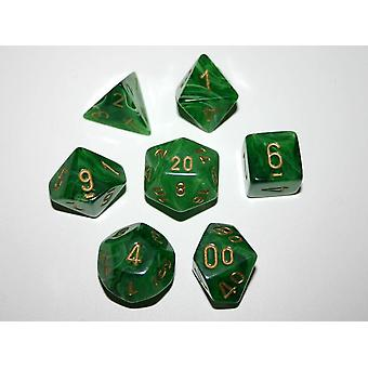 Chessex Polydice Set - Vortex Dice Green/gold
