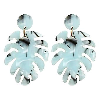 Aqua Resin Acrylic Leaf Drop Earrings