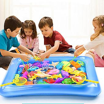 Magnetic Fishing Toy With Inflatable Pool Rod Net Set For Kids Party Model Play Fishing Games Summer Outdoor.