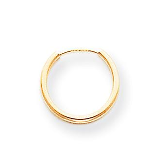 14k Yellow Gold Polished Hollow tube Endless Hoop Earrings - .3 Grams - Measures 12x12mm