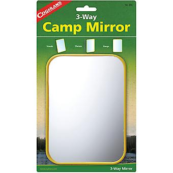 Coghlan-apos;s 3-Way Camp Mirror, Plastique coloré, Clamps w / Hook Signal Survival