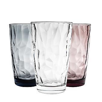 Bormioli Rocco Diamond Coloured Dimpled Cooler Glasses - 470ml - Set of 6