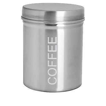 Contemporary Coffee Canister - Steel Kitchen Storage Caddy with Rubber Seal - Silver