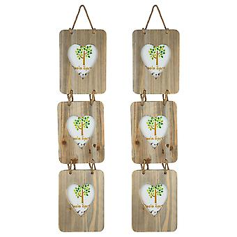 "Nicola Spring Set of 2 4 x 6 Wooden Hanging Multi 3 Photo Picture Frames - Heart Shaped Aperture - Fits 4x6"" Photos - Natural"