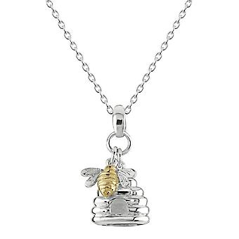 Dew Sterling Silver Bee And Hive Gold Plated Pendant 9467GD028