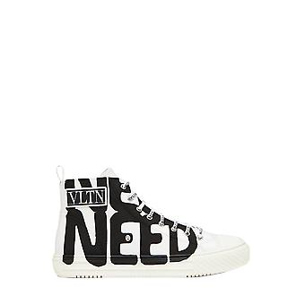 Valentino Garavani Uy0s0d51ihha01 Men's White Fabric Hi Top Sneakers