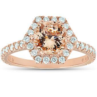 1 5/ 8 Ct TW Morganite sekskantet Halo diamant ring 14k rose gull