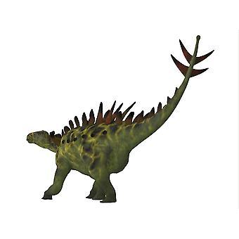 Huayangosaurus dinosaur on white background Huayangosaurus was an armored herbivorous dinosaur that lived in the Jurassic Period of China Poster Print