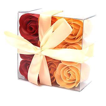 Ensemble de 9 Boîte à fleurs de savon - Roses de pêche X 1