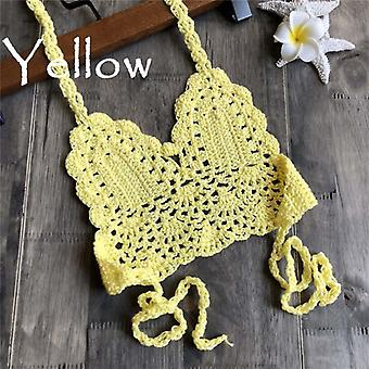 Mode Crochet Bikini Top Sexy Hollow Out Halter V-neck Lace Tops