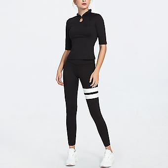 Women's Workout Outfit 2 Pieces Yoga Leggings with Sports Long Sleeve Gym Clothes Set