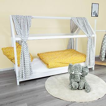 Puckdaddy House Bed Curtain Svea 146x298cm 2ErSet Fabric Sky com Padrão Chevron em Branco