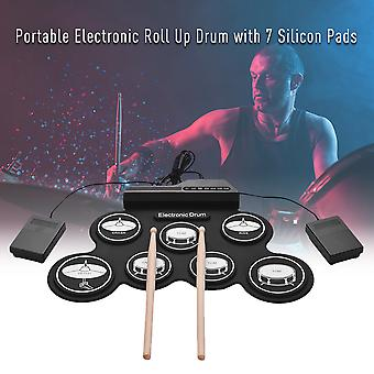 7 Pads Roll up Drum Set Silicone Electric Drum Pad Kit Portable Electronic Drum Digital USB