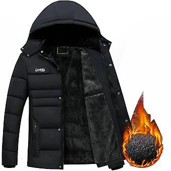 Nueva chaqueta de invierno hombres espesan cálido Parkas con capucha abrigo Fleece Outwear Jaqueta