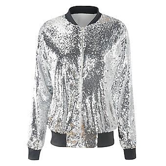 YANGFAN Womens Sequin Long Sleeve Front Zip Jacket