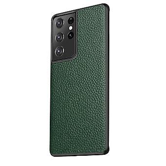 Para Samsung Galaxy S21 Ultra Funda de Cuero Genuino Cubierta Protectora Delgada Verde
