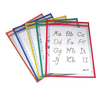 """Reusable Dry Erase Pockets, Primary Colors, 9"""" X 12"""", Pack Of 5"""