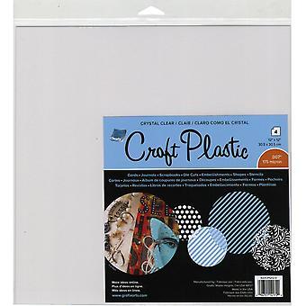 "Grafix Craft 175 Micron Thick Plastic Sheets 12""X12"" 4/Pkg"