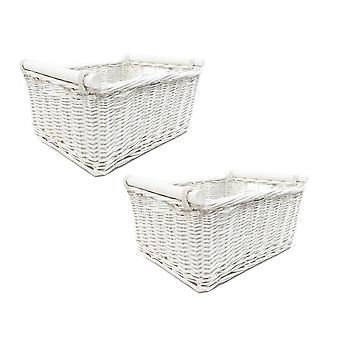 Set Of 2 Kitchen Log Storage Basket With Handles