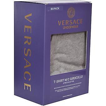 Versace 2-Pack Classic Logo Crew-Neck T-Shirts, Grey