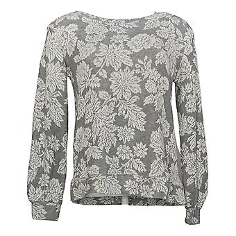 Ellen Tracy Women's Sweatshirt Jacquard Crewneck Long Sleeve Pullover Gray