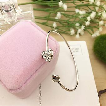 Säädettävä kristalli kaksinkertainen sydän rannekoru naisille