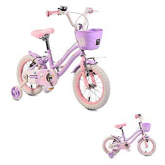 Byox barnens cykel 14 tum 1483 lila, stödhjul, klocka, främre korg, V-bromsar