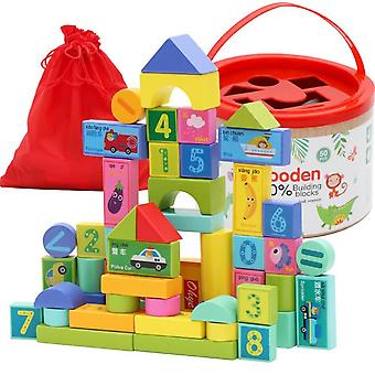 Pakkaus Ympäristönsuojelu Paint Kids Puiset rakennuspalikat Lelu (50