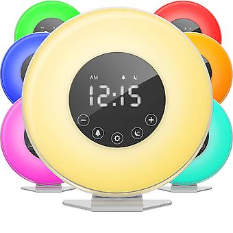 Wake Up Sunrise Led Alarm Clock With 6 Color Switch Touch Control Snooze Function