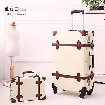 Floral Pu Travel Bag, Rolling Luggage, Women Retro Trolley Suitcase On