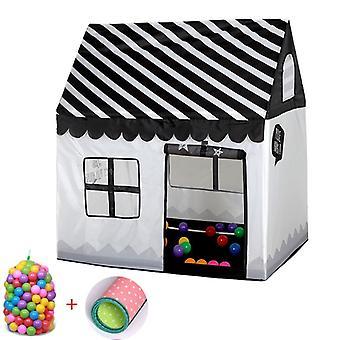 Domowe dzieci drukowanie Play Tent Small Game House z 50 Kulki Oceanu & Mata (czarny biały)