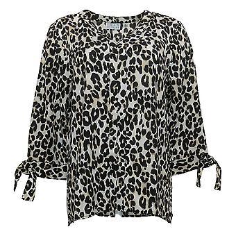Joan Rivers Women's Top Silky Blouse W/ Tie Sleeves Bege A309716