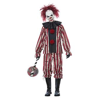 Mens Nightmare Clown Costume With Mask Circus Halloween Fancy Dress