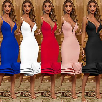 Summer Sexy Strap Deep V Evening Dresses For Women Party 2021 Urbano Vintage Dress