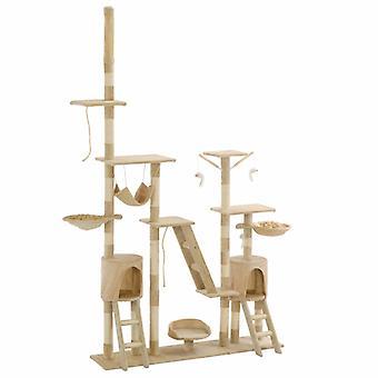 vidaXL chat-grattant avec colonnes de sisal 230 - 250 cm beige