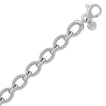 Sterling Silver Oval Cable Design Chain Link Bransoletka