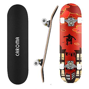 Gerui Skateboard 31 x 8 Inch Fun Printed Complete Skateboards, 7 Layer Canadian Maple Wood Cruiser