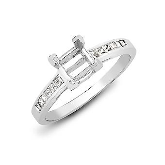Jewelco London Solid 18ct White Gold Channel Set Round G VS 0.25ct Diamond Semi Set Mount Engagement Ring 5.5mm