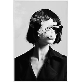 JUNIQE Print -  Smoke III - Modefotografie Poster in Schwarz & Weiß