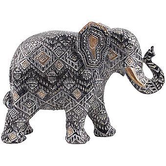 Geometrische schwarz und Gold Medium Thai Elefant Figur