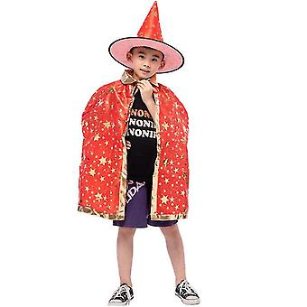 Wizard Cape Witch Cloak With Hat, Halloween Costume For Kids Cosplay Party(Red)