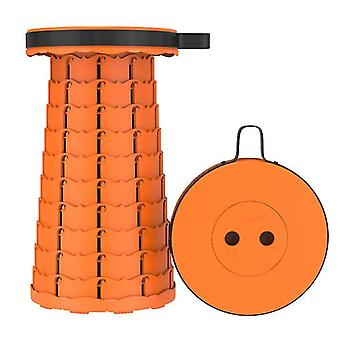 Outdoor folding telescopic stool, portable plastic stool for camping and fishing(Orange)
