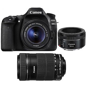 Canon Digital Camera  Eos 80d Kit Ef-s 18-55mm F3.5-5.6 Is Stm + Ef-s 55-250mm F4-5.6 Is Stm (white Box) + Ef 50mm F1.8 Stm