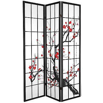 Fine Asianliving Japanese Room Divider 3 Panneaux W135xH180cm Écran de confidentialité Shoji Riz-papier Noir - Fleurs de cerisier Sakura