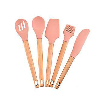 5PCS Silicone Kitchenware Set Beech Wood Handle Kitchenware Nonstick Pan colander Oil Brush Scraper