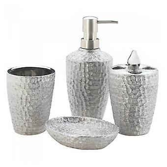Accent Plus Hammered-Texture Silver Porcelain Bath Set, Pack of 1