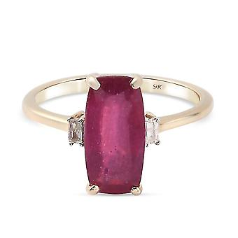 TJC Ruby, White Diamond Statement Cocktail Ring for Womens 9K Yellow Gold 3.39ct(Q)