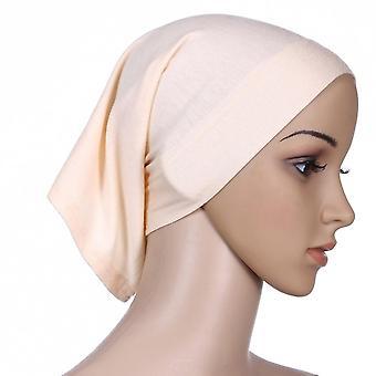 1 db rugalmas pamut turbán kalap egyszínű nők meleg téli fejkendő motorháztető belső hidzsáb sapka muszlim hidzsáb femme wrap fej