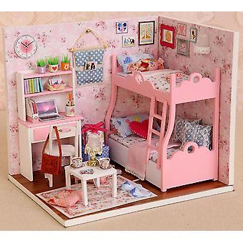Holz Puppenhaus Miniaturen Diy Haus Kit mit Abdeckung und LED Lichtblüte Alter