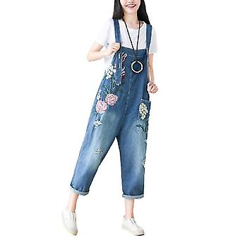 Woman Loose Embroidered Bib Overalls Demin Pants